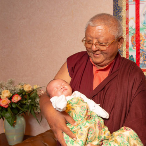 HUGE BLISS – Jigme Rinpoche with Karmapa's son (Photo © Thule G. Jug)